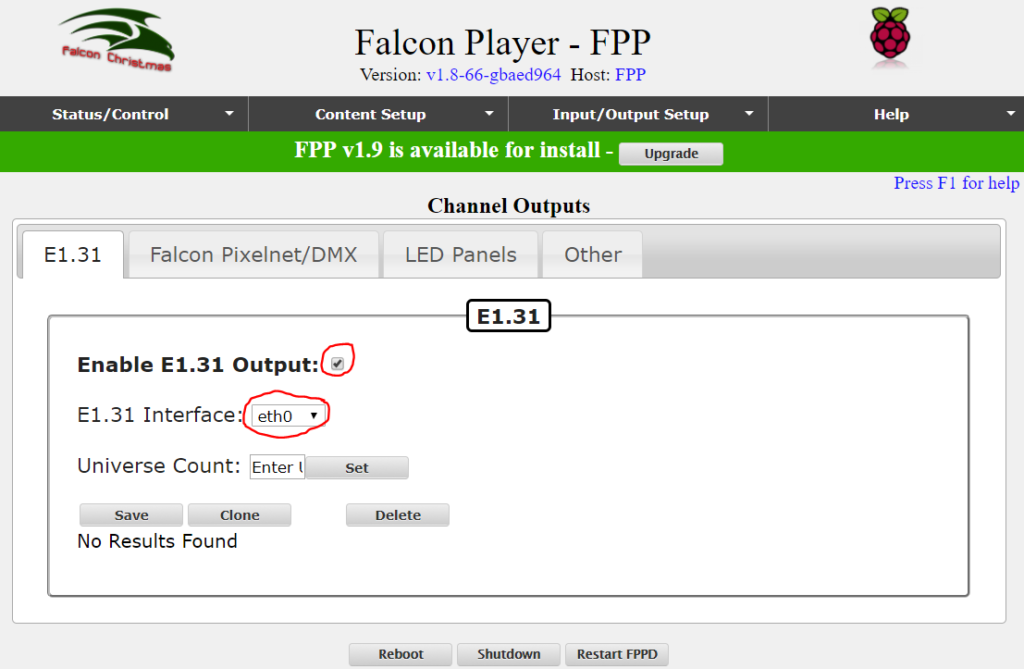 E131 Falcon F16v3 Player setup
